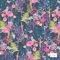 Bluebellgray Wee Peggy - Midnight  | Curtain & Upholstery fabric - Blue, Pink, Purple, Floral, Garden, Botantical, Decorative, Natural, Pattern