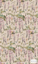 Mokum Papillon - Powder  | Curtain & Upholstery fabric - Pink, Purple, Floral, Garden, Botantical, Decorative, Natural, Print, Natural Fibre