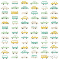 Casadeco Allover Vintage Cars 8324 - 8324 72 15 | Curtain Fabric - Gold, Yellow, Green, Tan, Taupe, Children, Kids, Decorative, Natural, Pattern