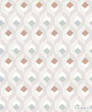 Casadeco Hexacube Wallpaper 8205 - 8205 11 20  | Wallpaper, Wallcovering - Brown, Grey, Orange, Geometric, Decorative, Honeycomb, Pattern