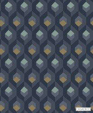 Casadeco Hexacube Wallpaper 8205 - 8205 65 23  | Wallpaper, Wallcovering - Blue, Geometric, Decorative, Honeycomb, Pattern, Standard Width