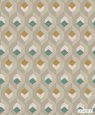 Casadeco Hexacube Wallpaper 8205 - 8205 74 07  | Wallpaper, Wallcovering - Gold, Yellow, Green, Tan, Taupe, Geometric, Decorative, Honeycomb, Pattern