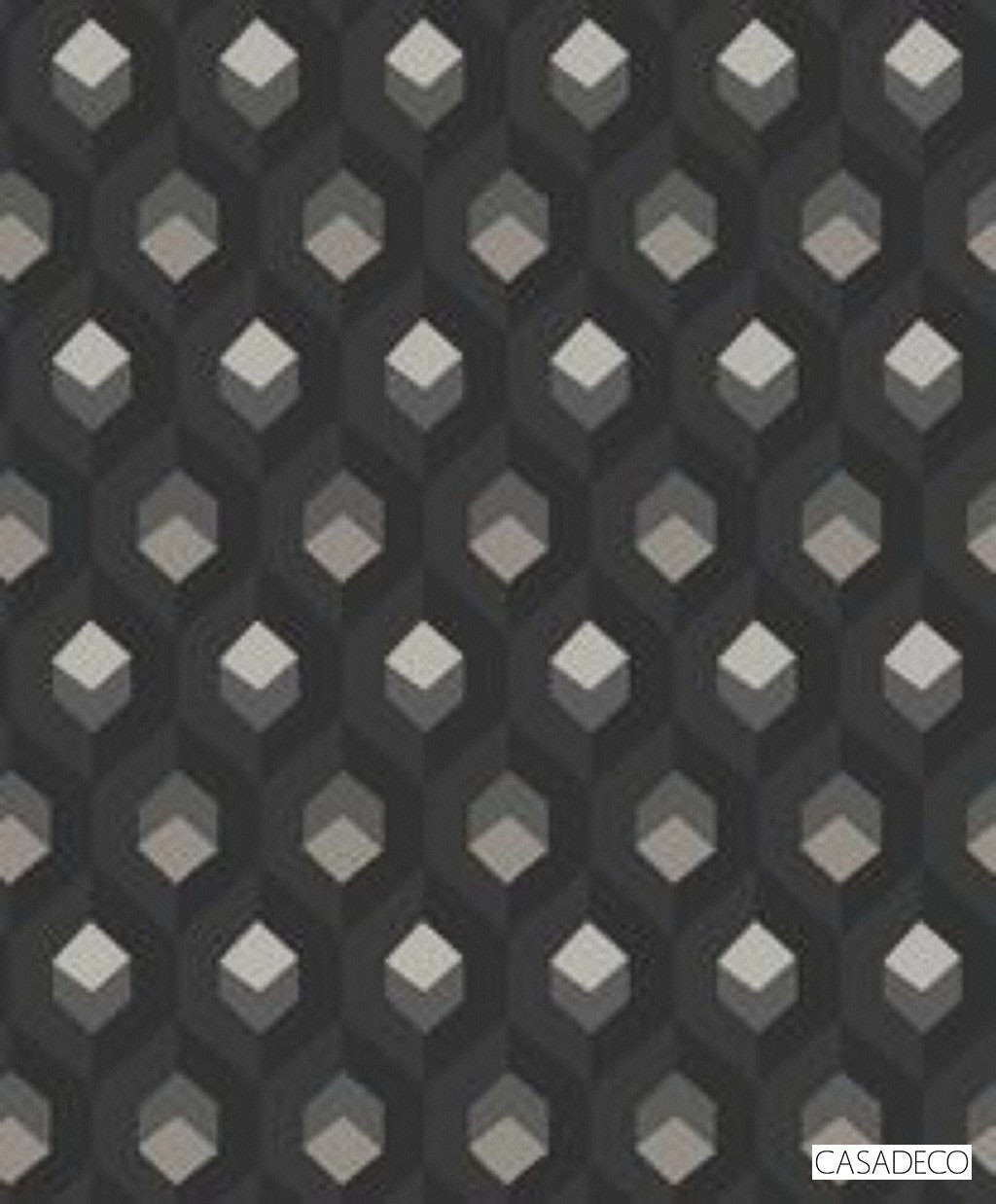 Casadeco Hexacube Wallpaper 8205 - 8205 95 11  | Wallpaper, Wallcovering - Black, Charcoal, Geometric, Decorative, Honeycomb, Pattern, Standard Width