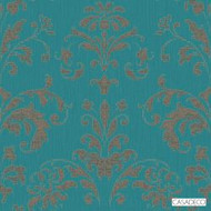Casadeco Palace Wallpaper 8199 - 8199 61 56  | Wallpaper, Wallcovering - Turquoise, Teal, Floral, Garden, Botantical, Decorative, Rococo, Pattern