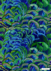 Casadeco Plumae W/Panel 8336 - 8336 65 68  | Wallpaper, Wallcovering - Blue, Deco, Decorative, Pattern, Tropical, Feathers