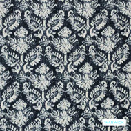 Warwick Jahan - Ink  | Curtain Fabric - Blue, Damask, Fibre Blends, Mediterranean, Traditional, Commercial Use, Standard Width