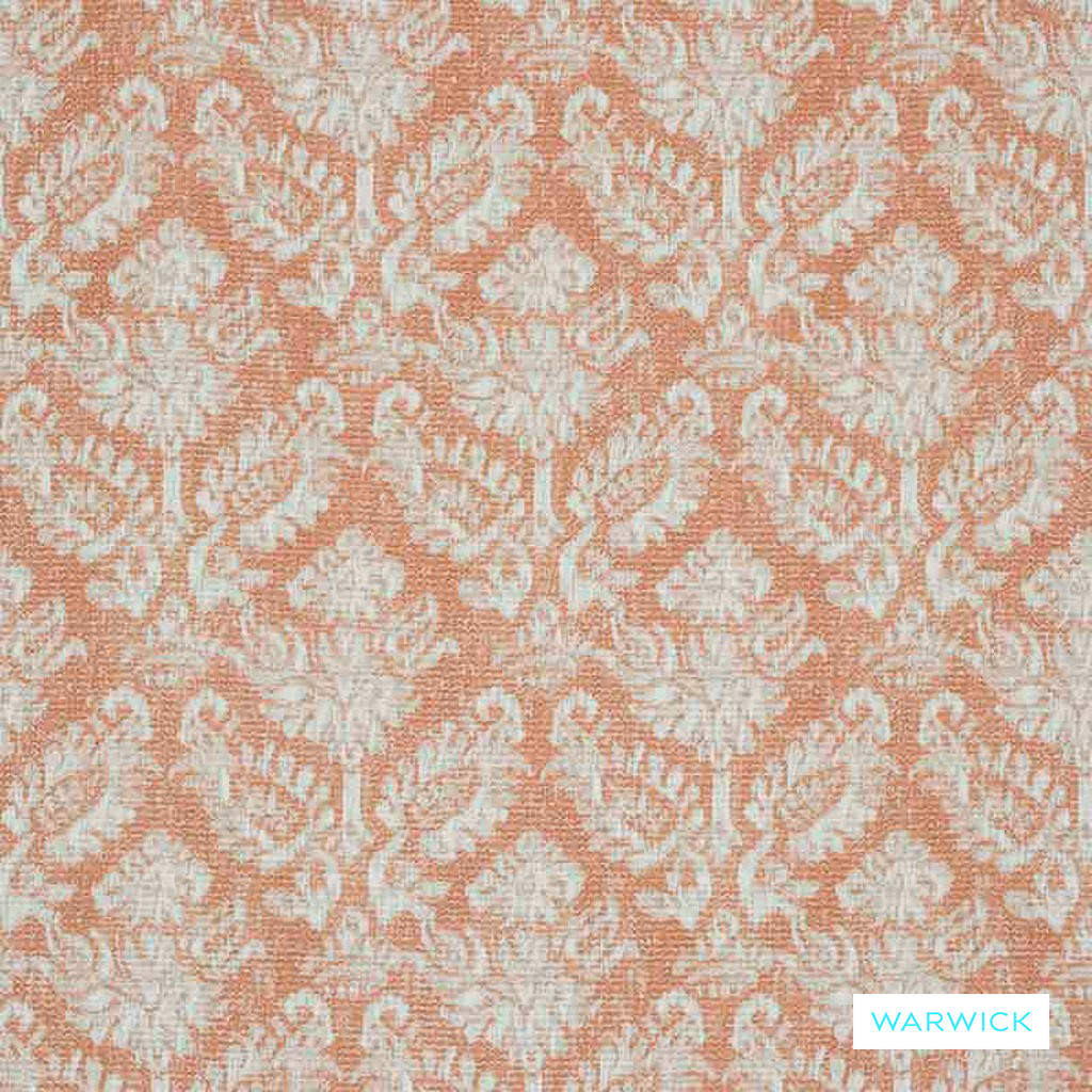 Warwick Jahan - Melon  | Curtain Fabric - Orange, Terracotta, Mediterranean, Traditional, Damask, Fibre Blend, Standard Width