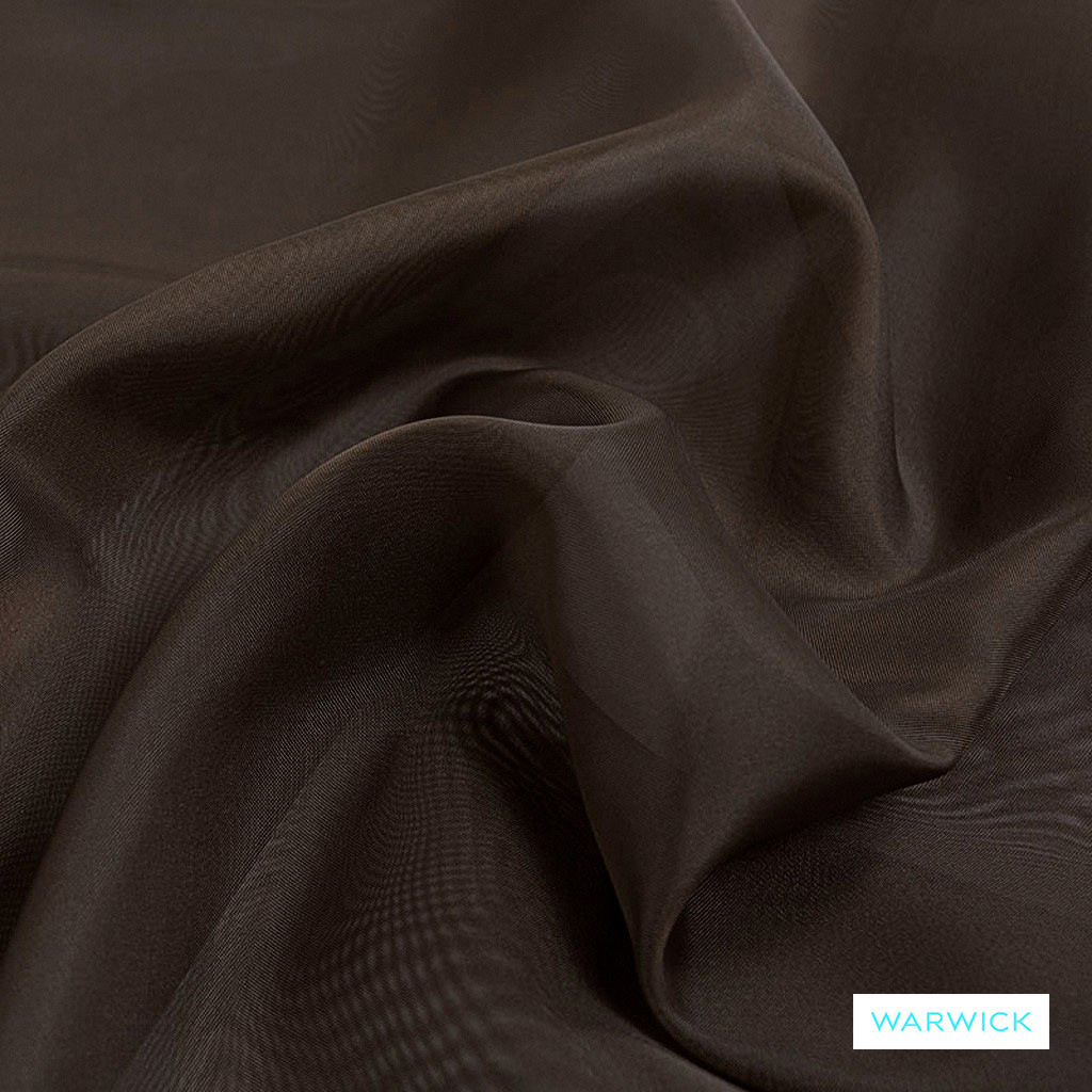 Warwick Marley - Chocolate  | Curtain Fabric - Brown, Plain, Synthetic, Tan, Taupe, Wide Width
