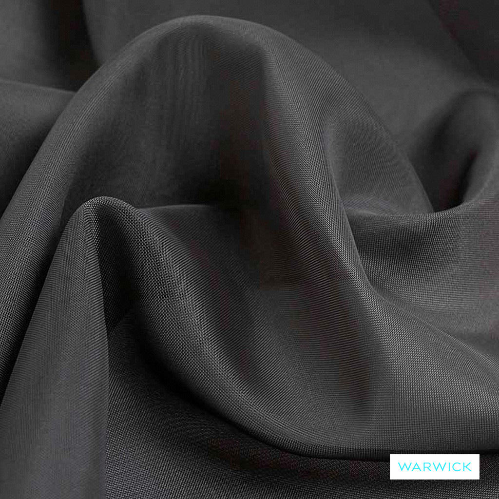 Warwick Marley - Chrome  | Curtain Fabric - Grey, Plain, Black - Charcoal, Synthetic, Wide Width