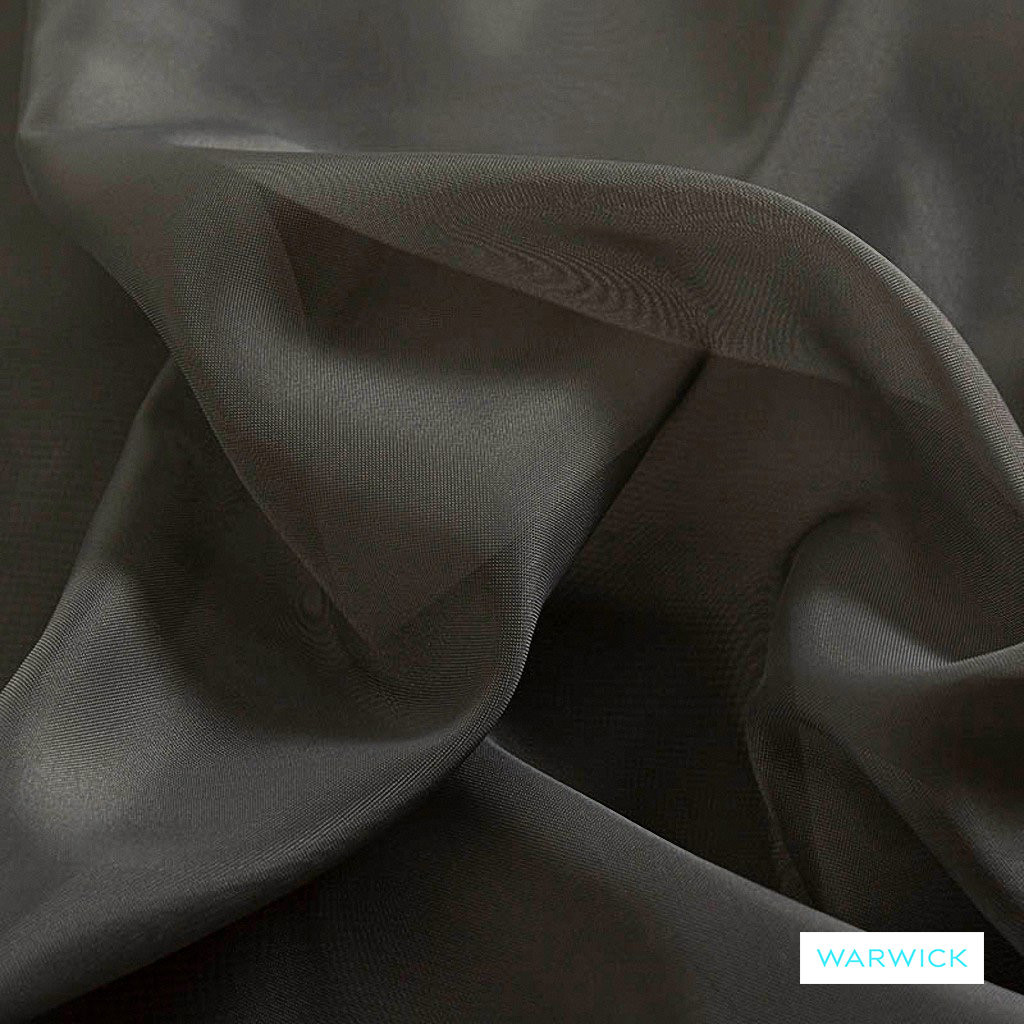 Warwick Marley - Shale  | Curtain Fabric - Grey, Plain, Black - Charcoal, Synthetic, Wide Width