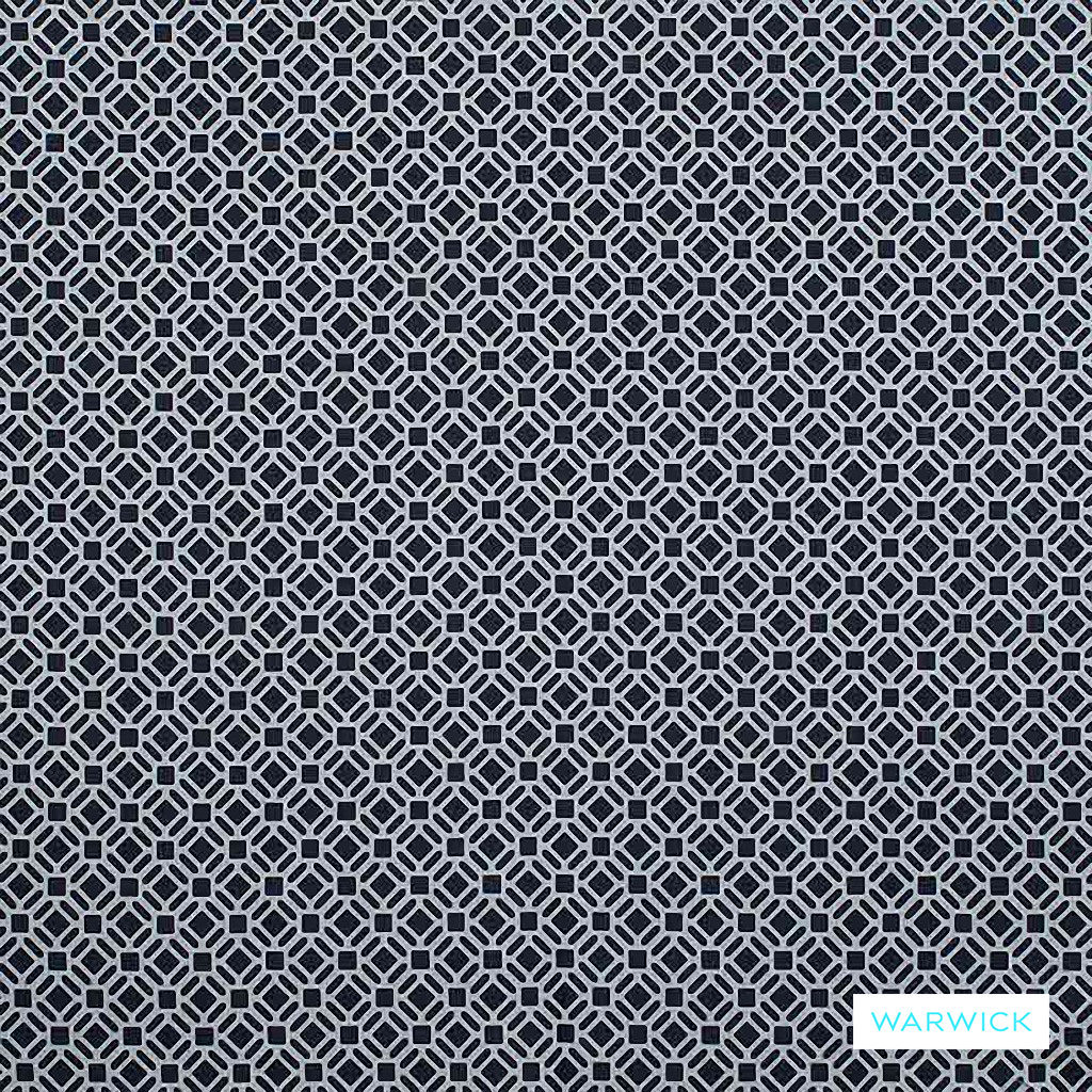 Warwick Yasawa - Marine | Curtain Fabric - Blue, Contemporary, Outdoor Use, Geometric, Bacteria Resistant, Insect Resistant, Stain Repellent, Circles