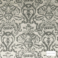 Clarke & Clarke - Bw1019 Blackwhite  | Curtain & Upholstery fabric - Black, Charcoal, Damask