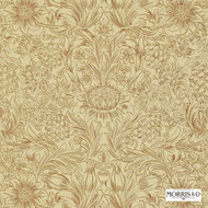 Morris and Co - Sunflower Etch DMORSU101  | Wallpaper, Wallcovering - Gold,  Yellow, Art Noveau, Craftsman, Damask, Floral, Garden, Traditional, Domestic Use