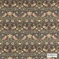 Morris and Co - Strawberry Thief 220311  | Curtain & Upholstery fabric - Brown, Art Noveau, Craftsman, Natural Fibre, Traditional, Animals, Animals - Fauna, Domestic Use