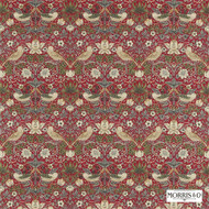 Morris and Co - Strawberry Thief 220312  | Curtain & Upholstery fabric - Red, Art Noveau, Craftsman, Natural Fibre, Traditional, Animals, Animals - Fauna, Domestic Use, Birds