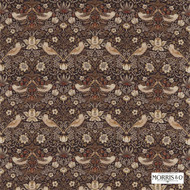 Morris and Co - Strawberry Thief 220315  | Curtain & Upholstery fabric - Brown, Art Noveau, Craftsman, Natural Fibre, Traditional, Animals, Animals - Fauna, Domestic Use