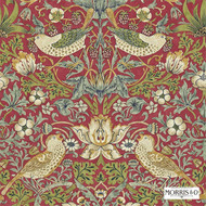 Morris and Co - Strawberry Thief 212563  | Wallpaper, Wallcovering - Red, Art Noveau, Craftsman, Traditional, Animals, Animals - Fauna, Domestic Use, Birds