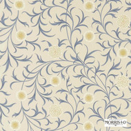 Morris and Co - Scroll 220307  | Curtain & Upholstery fabric - Blue, Art Noveau, Craftsman, Floral, Garden, Natural Fibre, Traditional, Domestic Use, Natural, Standard Width