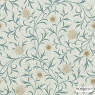 Morris and Co - Scroll 210362  | Wallpaper, Wallcovering - Blue, Art Noveau, Craftsman, Floral, Garden, Traditional, Domestic Use