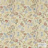 Morris and Co - Mary Isobel Embroideries 230340  | Curtain Fabric - Gold,  Yellow, Craftsman, Fibre Blends, Floral, Garden, Jacobean, Traditional, Domestic Use, Embroidery