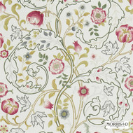 Morris and Co - Mary Isobel DMCOMA204  | Curtain & Upholstery fabric - Brown, Grey, Art Noveau, Black - Charcoal, Craftsman, Floral, Garden, Jacobean, Natural Fibre