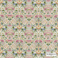Morris and Co - Lodden 222525  | Curtain & Upholstery fabric - Art Noveau, Craftsman, Damask, Floral, Garden, Natural Fibre, Pink, Purple, Traditional, Domestic Use