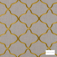Clarke & Clarke - Leyla Citrus  | Curtain Fabric - Gold, Yellow, Geometric, Embroidery, Lattice, Trellis, Quatrefoil, Fibre Blend