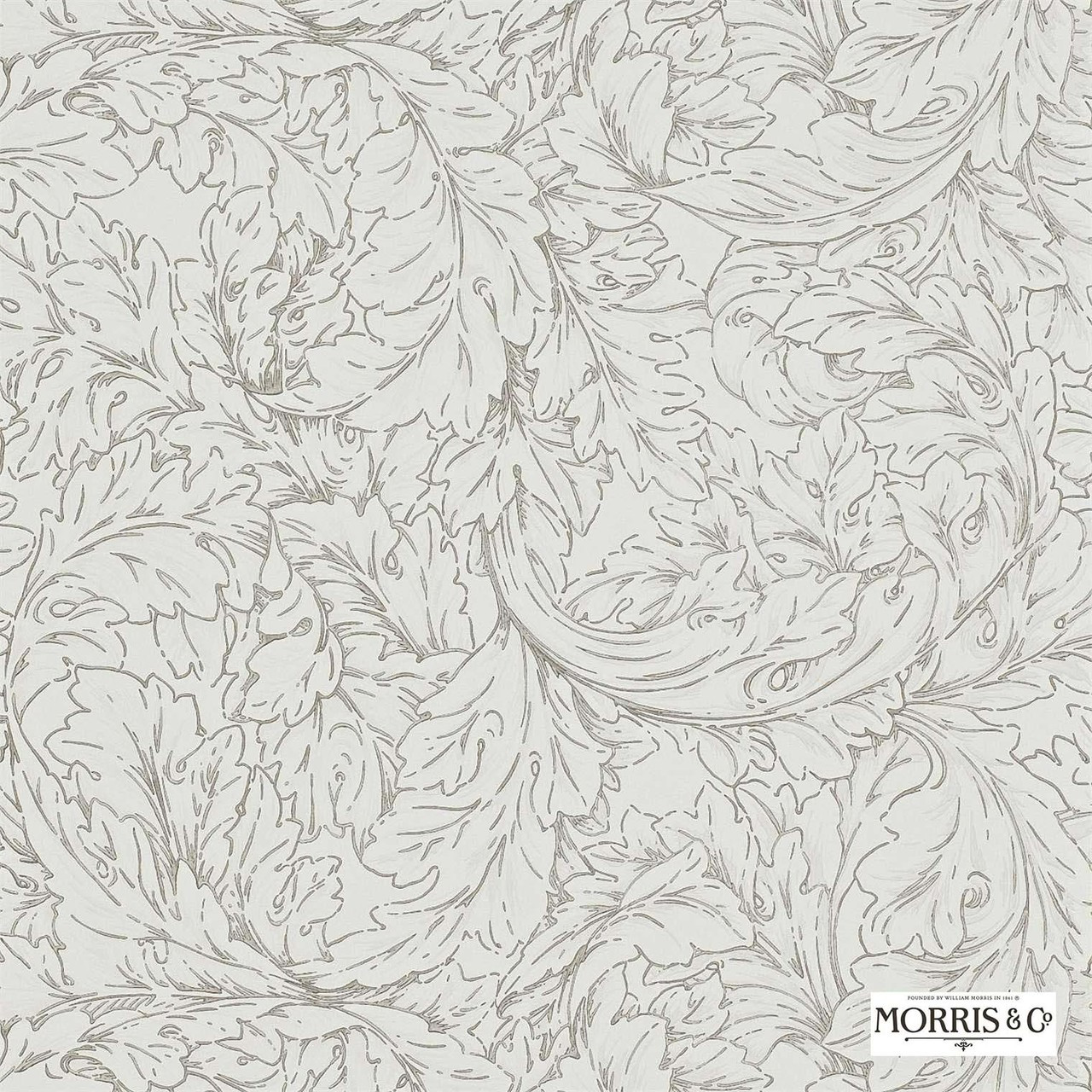Morris and Co - Acanthus Scroll DMORAC104 | Wallpaper, Wallcovering - White, Art Noveau