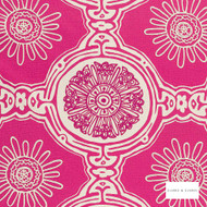 Clarke & Clarke - Maxime Cerise  | Curtain Fabric - Pink, Purple, Embroidery, Natural, Medallion, Natural Fibre