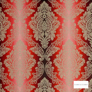 Clarke & Clarke - Ornato Cardinal 2  | Curtain & Upholstery fabric - Red, Stripe, Traditional, Eclectic, Damask, Fibre Blend