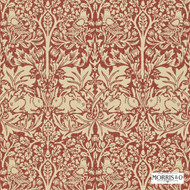 Morris and Co - Brer Rabbit DMORBR106  | Wallpaper, Wallcovering - Red, Art Noveau, Craftsman, Damask, Eclectic, Traditional, Animals, Animals - Fauna, Domestic Use, Birds