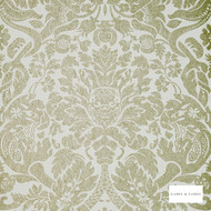 Clarke & Clarke - Valentina Nickel Wp  | Wallpaper, Wallcovering - Green, Traditional, Art Nouveau, Damask, Print