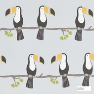 Scion Terry Toucan 111270  | Wallpaper, Wallcovering - Black - Charcoal, Kids, Children, Midcentury, Animals, Animals - Fauna, Domestic Use, Figurative, Birds