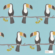 Scion Terry Toucan 111271  | Wallpaper, Wallcovering - Blue, Kids, Children, Midcentury, Animals, Animals - Fauna, Domestic Use, Figurative, Birds