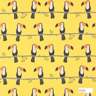 Scion Terry Toucan 120464  | Curtain & Upholstery fabric - Gold,  Yellow, Kids, Children, Midcentury, Natural Fibre, Washable, Animals, Animals - Fauna, Domestic Use, Birds