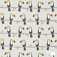 Scion Terry Toucan 120465    Curtain & Upholstery fabric - Washable, Black, Charcoal, Animals, Fauna, Birds, Natural, Figurative, Natural Fibre