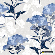 Gummerson - Eclipse Navy Softweave 137cm  | Curtain Fabric - Fire Retardant, Blue, Floral, Garden, Botantical, Standard Width