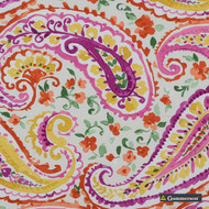 Gummerson - Poetry Punch Uncoated 137cm  | Curtain Fabric - Pink, Purple, Floral, Garden, Botantical, Paisley, Eclectic, Natural, Natural Fibre