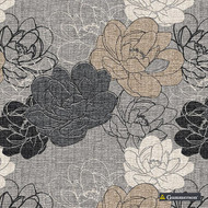 Gummerson - Resort Charcoal Softweave 138cm  | Curtain Fabric - Grey, Tan, Taupe, Floral, Garden, Botantical, Standard Width