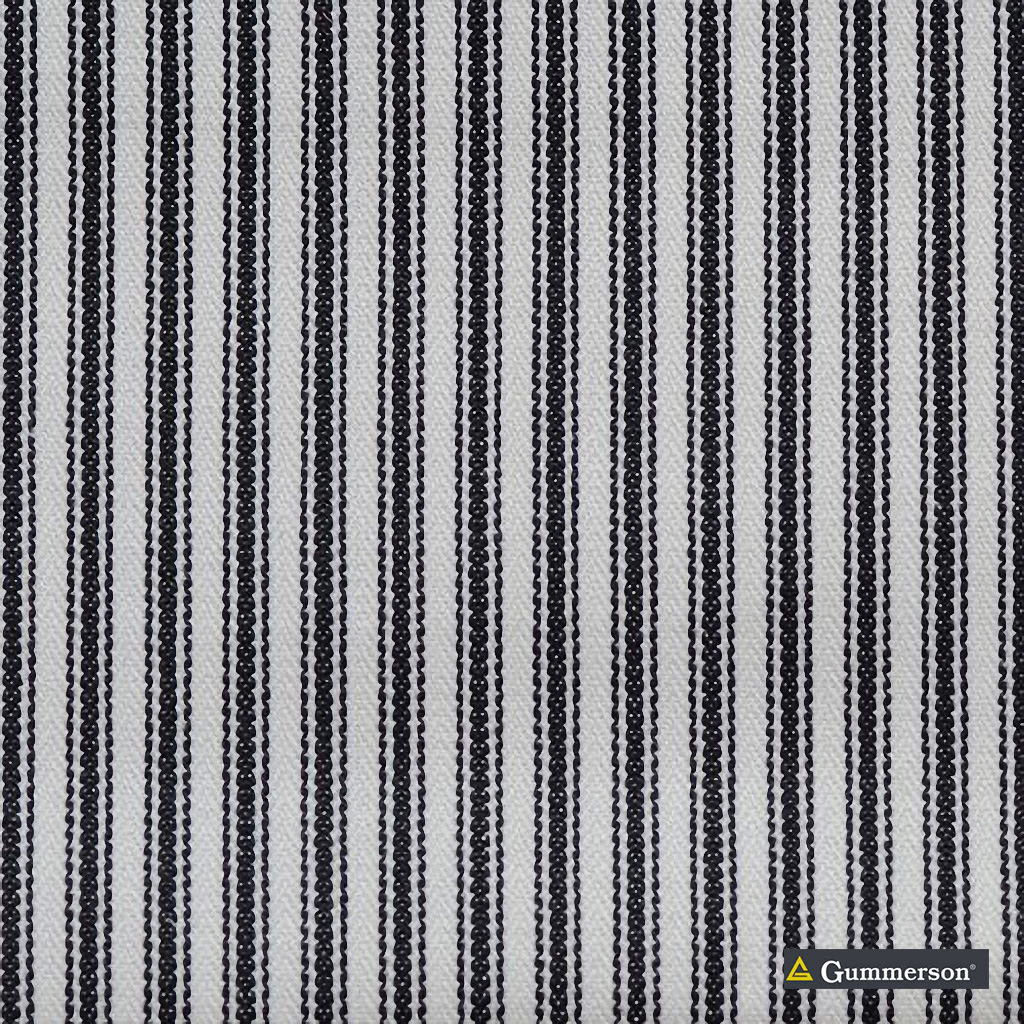 Gummerson - Ticking Stripe Black Uncoated 140cm  | Curtain Sheer Fabric - Green, Wide-Width, Plain