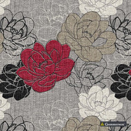 Gummerson - Resort Red Softweave 138cm  | Curtain Fabric - Red, Floral, Garden, Botantical, Standard Width