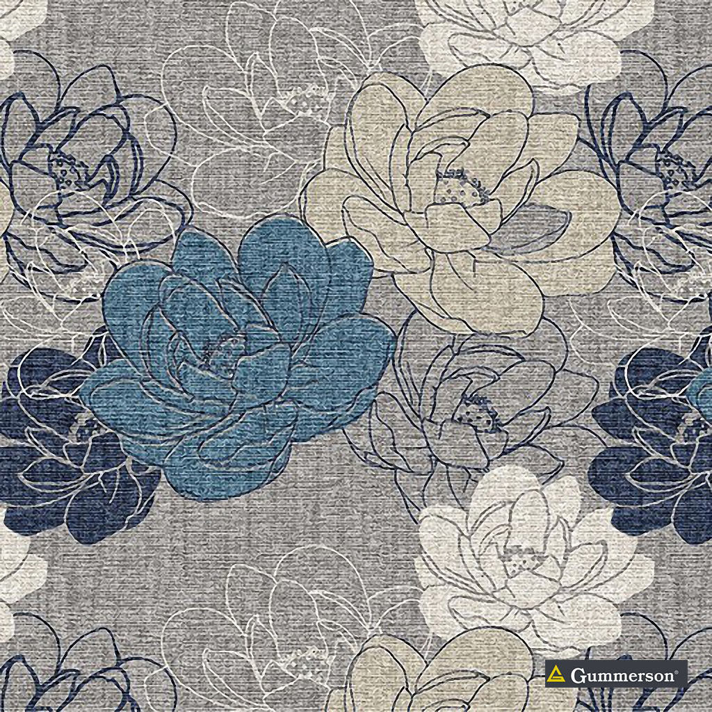 Gummerson - Resort Royal Softweave 138cm  | Curtain Fabric - Blue, Floral, Garden, Botantical, Standard Width