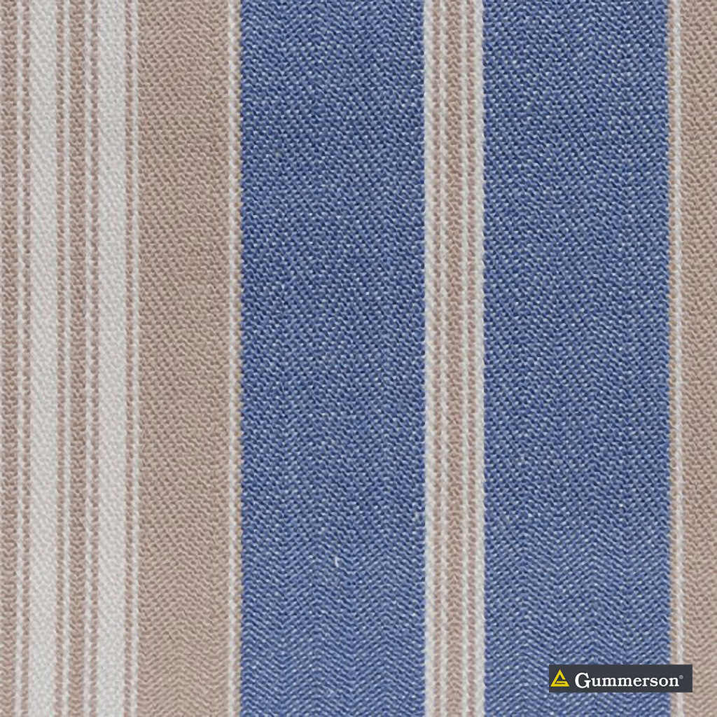 Gummerson - Multi Stripe Chambray Uncoated 140cm  | Curtain & Upholstery fabric - Blue, Stripe, Uncoated, Fibre Blend, Standard Width