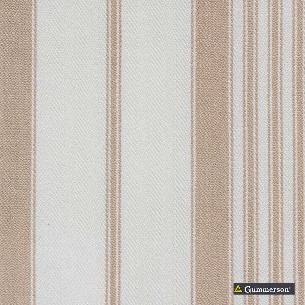 Gummerson - Multi Stripe Taupe Uncoated 140cm  | Curtain & Upholstery fabric - Beige, Stripe, Uncoated, Fibre Blend, Standard Width