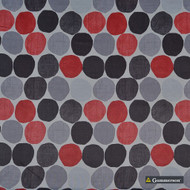 Gummerson - Soho Silver Softweave 137cm  | Curtain & Upholstery fabric - Green, Red, Circles, Dots, Spots, Standard Width