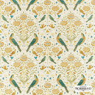 Morris & Co Seasons By May Embroidery - 236826  | Curtain Fabric - Gold, Yellow, Green, Floral, Garden, Botantical, Cushion, Animals, Fauna, Birds