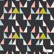 Scion Modul 120474    Curtain Fabric - Black, Charcoal, Blue, Green, Pink, Purple, Geometric, Abstract, Natural, Triangles, Natural Fibre