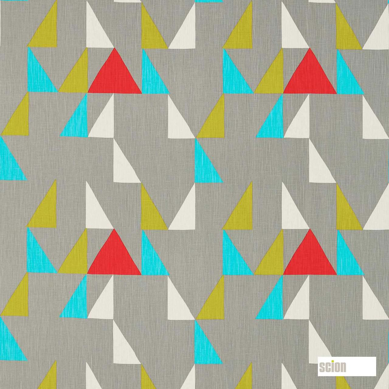 Scion Modul 120475    Curtain Fabric - Blue, Grey, Red, Geometric, Abstract, Natural, Triangles, Natural Fibre, Standard Width