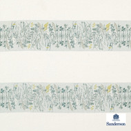 Sanderson Pressed Flowers - 236556  | Curtain Fabric - Green, Floral, Garden, Botantical, Fibre Blend, Standard Width