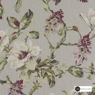 Maurice Kain Abbey 137cm - Breeze  | Curtain Fabric - Green, Floral, Garden, Botantical, Traditional, Uncoated, Shabby Chic, Natural, Natural Fibre